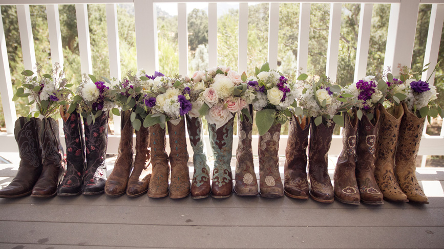 bouquets in cowboy boots, wedding cowboy boots, flowers, wedding
