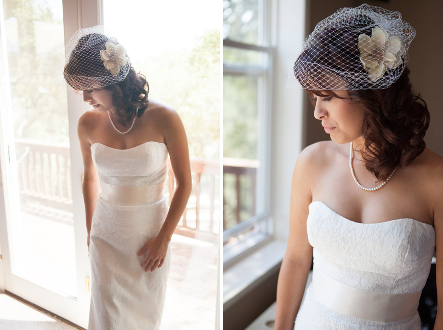 bride with bird cage veil