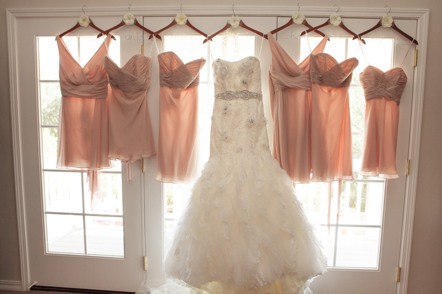 wedding dress, bridesmaid pink dresses
