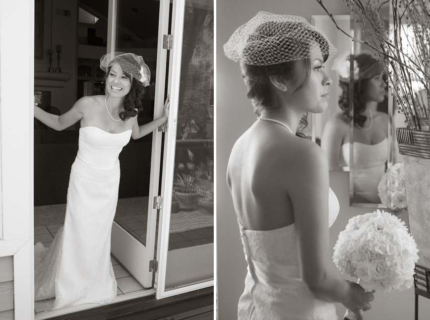 bride by mirror and door on wedding day french net hair braid with flower
