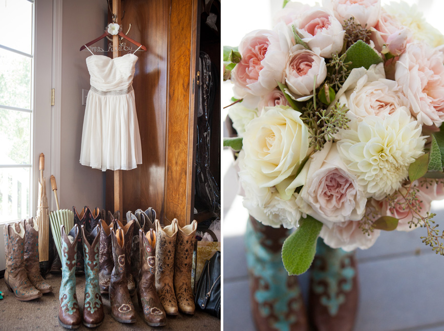 Bride bouquet in boots, cowboy boots, santa margarita wedding
