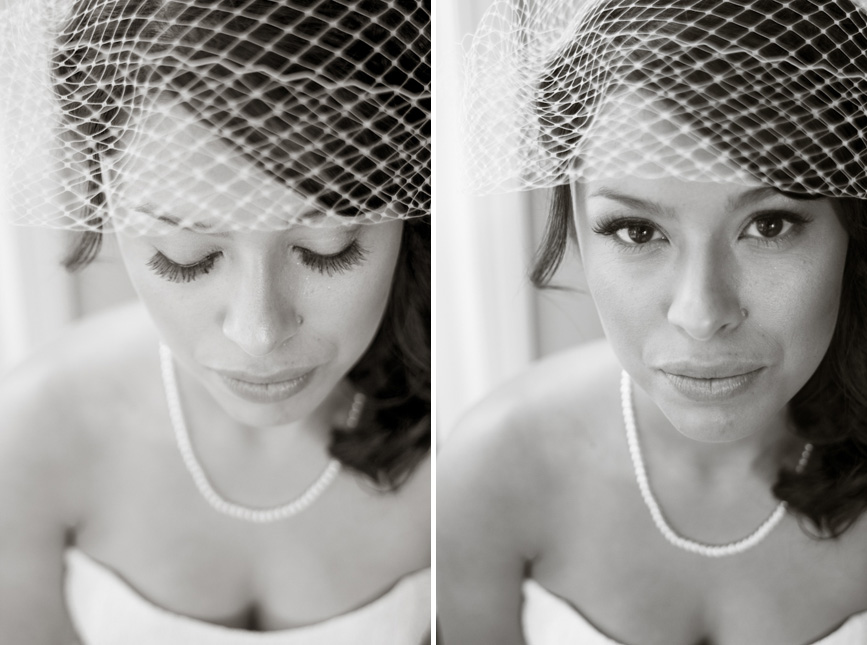 bride with pearls and bird cage veil
