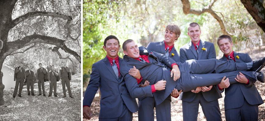 groom with groomsmen fun pose and oak tree