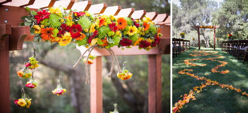 wedding arch flower idea bright colors