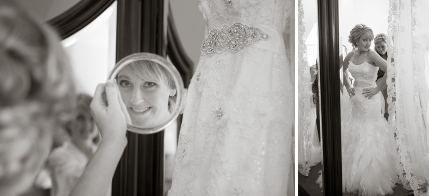 bride with wedding dress mirror, looking glass, bride with dress
