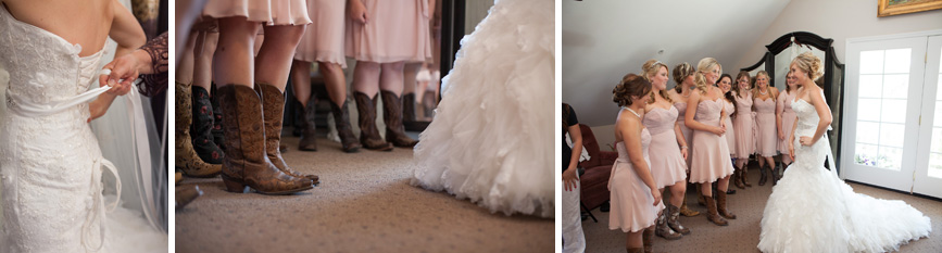 cowboy boots,wedding dress,bridesmaids, spanish oaks wedding, country wedding