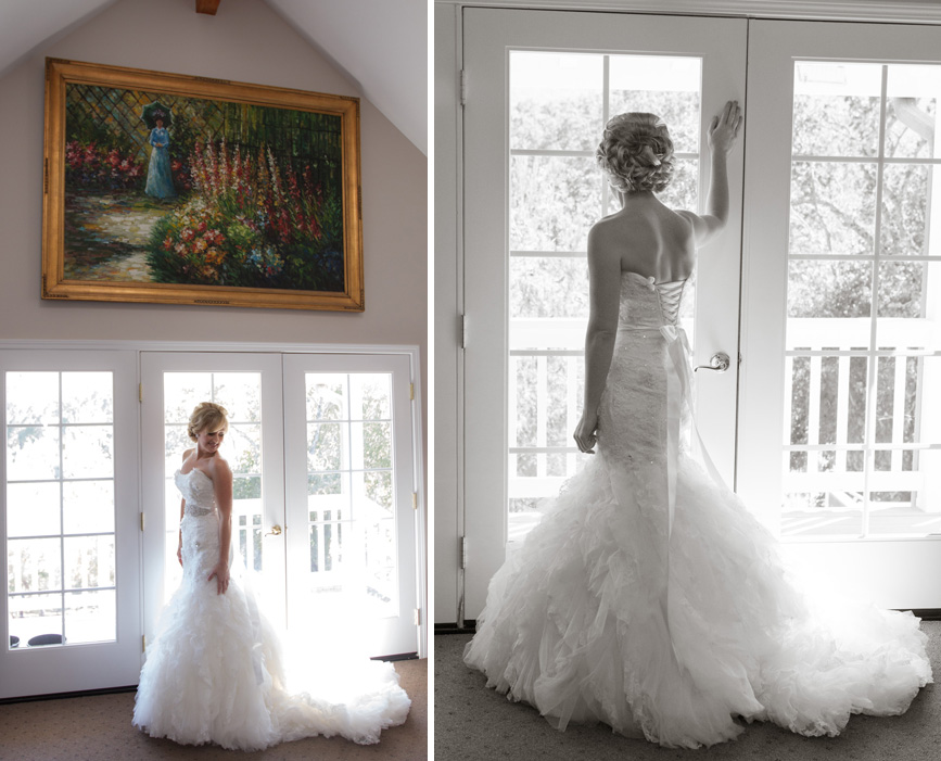 bride by window, spanish oaks ranch, california wedding
