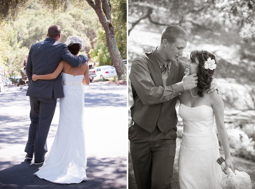 bride and groom on wedding day california atascadero country
