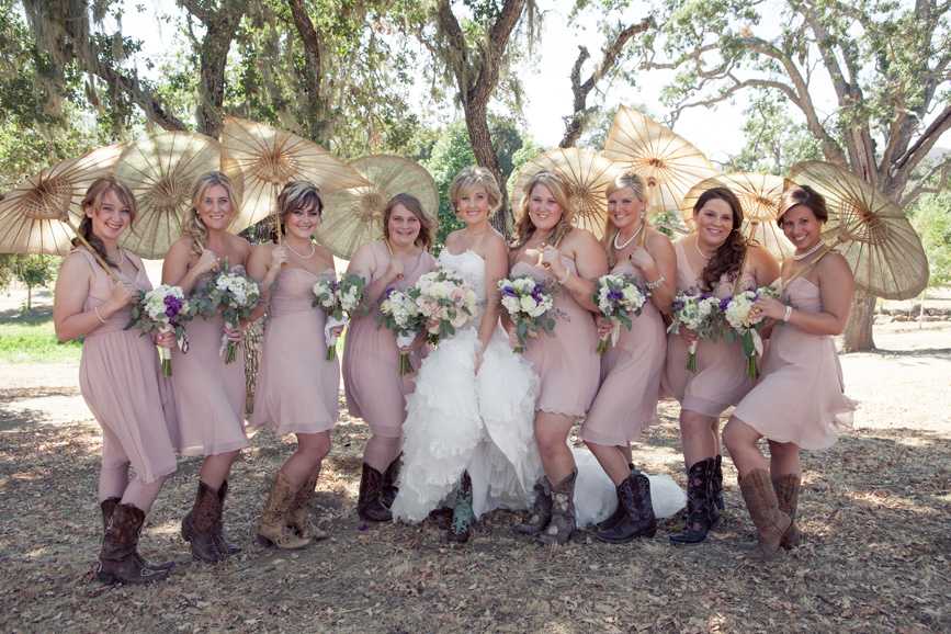bridesmaids cowboy boots, bridal party with cowboy boots, parasols