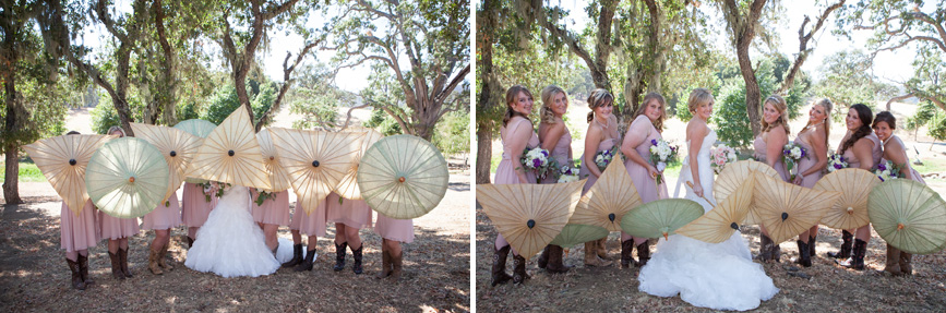 bridesmaids, country wedding, cowboy boots dresses, cowboy boots bridal party,wedding parasols