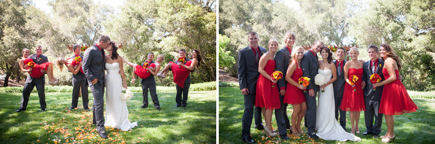 wedding party bright red fun pose