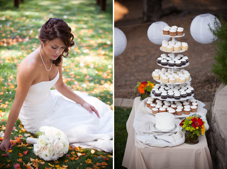 wedding cake with cupcakes bride with rose pedals