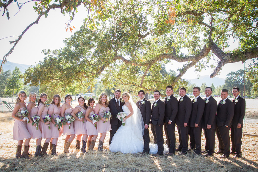 bridal party, country wedding bridal party, spanish oaks ranch