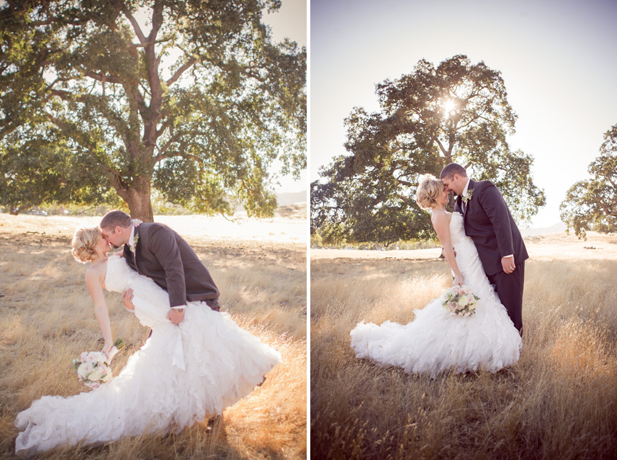 country bride and groom. bride and groom in field, san luis obispo wedding photographer