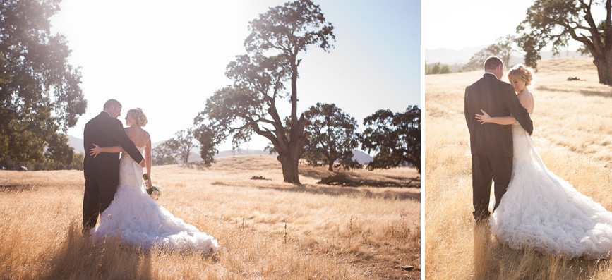 bride and groom in field, oak trees, wedding san luis obispo california