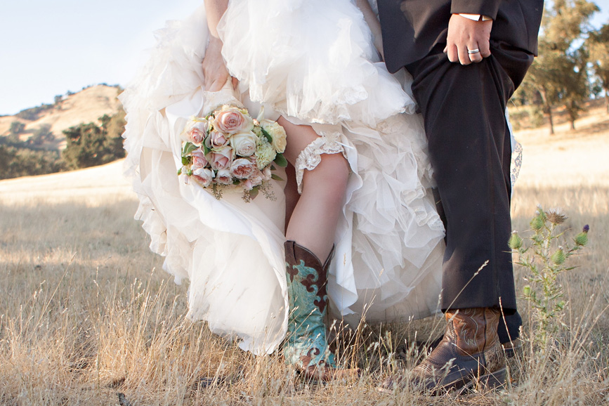 Cowboy boots, Gorgeous Wedding Dress, Dreamy Bouquet, Handsome Groom - What more can a country girl ask for?