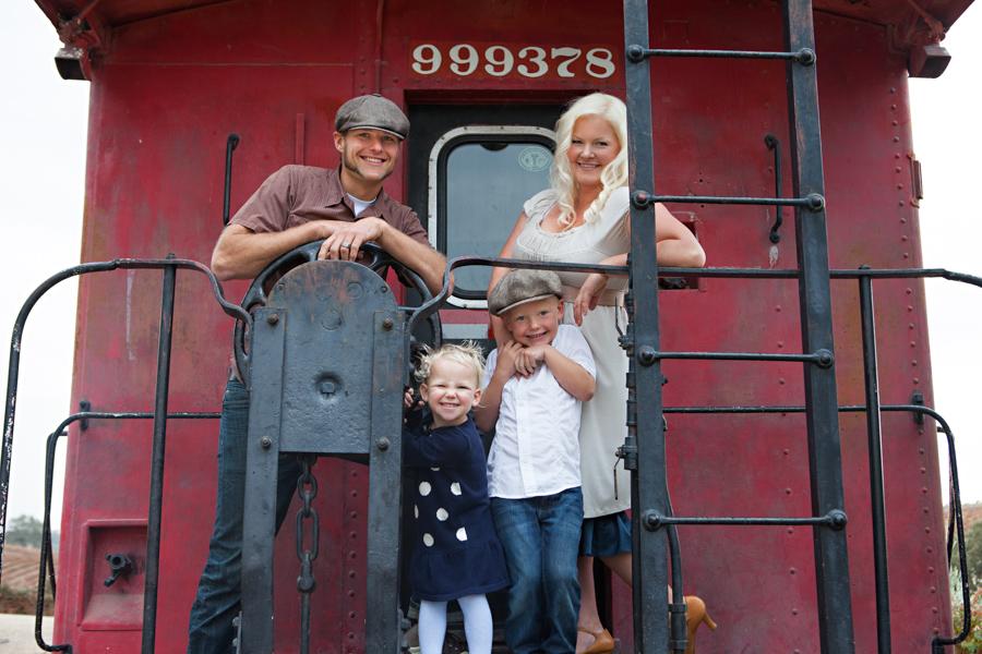 family portrait on train