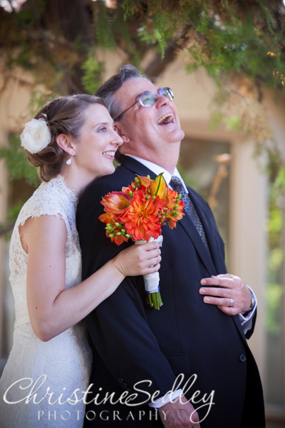 Bride and Father First Look Portola Inn Wedding Atascadero California
