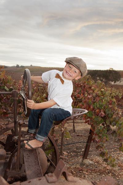 boy on tractor in vineyard