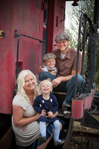 family on caboose train